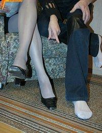 Lesbians petting by pantyhose