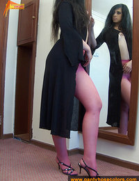 Pink pantyhose ripped off