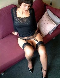 hot women putting on stockings & pantyhose