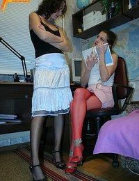 Student-girl masturbating through nylon