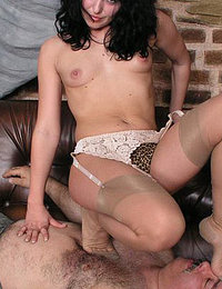 Nylon femdom trampling her slave