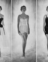 Slim gals in breathtakingly sexy retro lingerie make nice showoffs right before the camera