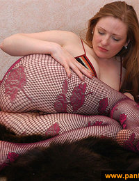 Purple fishnet pantyhose girl