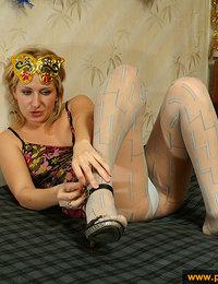 Pretty color pantyhose make girl happy