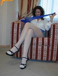 Lady showing through nylon