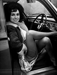 Retro lingerie pictures featuring stunning gals show their neat legs at and inside the cars