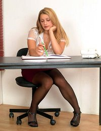 Pantyhose striptease at the office